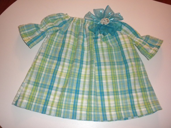 Blue/\Green Peasant Dress